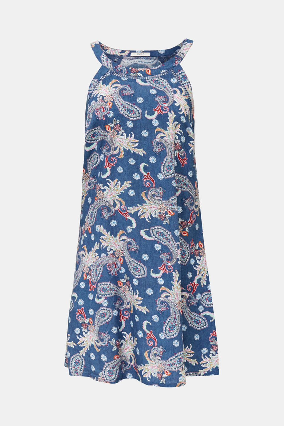 Print dress with embroidered trims, GREY BLUE, detail image number 2