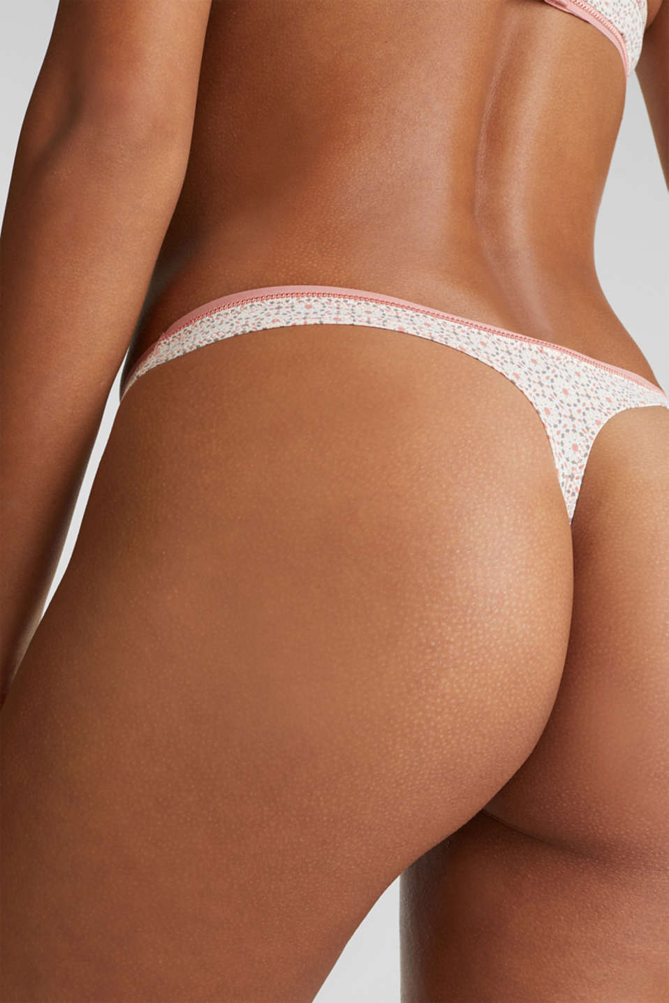 Hipster thong with a mini print, LIGHT TAUPE, detail image number 1
