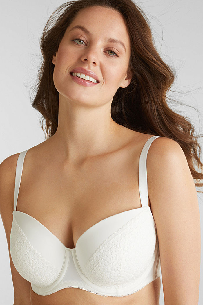Padded underwire bra with crocheted lace, OFF WHITE, detail image number 0
