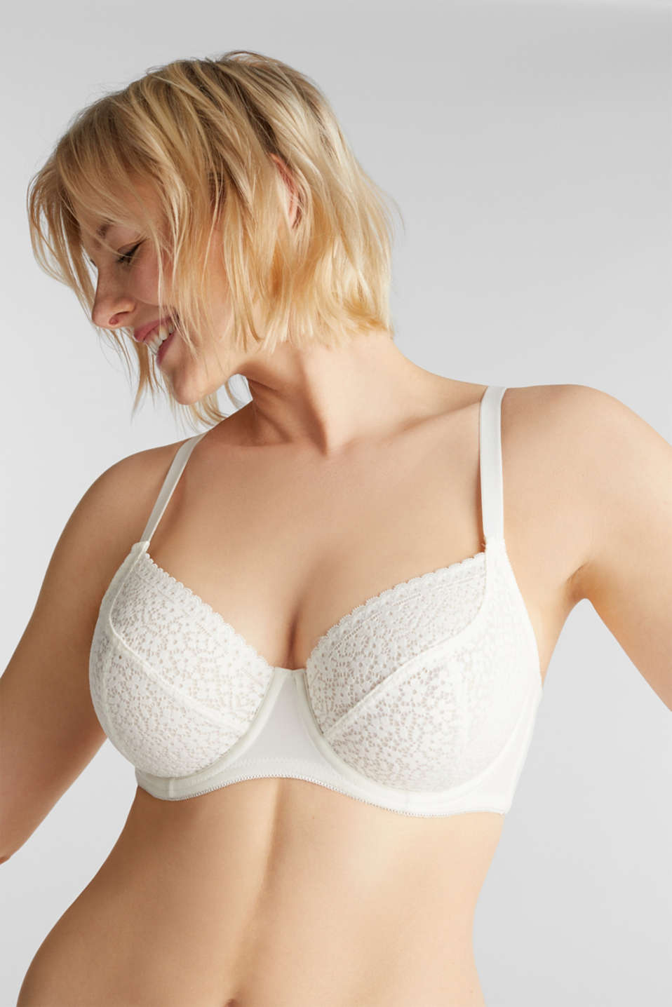 Unpadded underwire bra with crochet lace, OFF WHITE, detail image number 0
