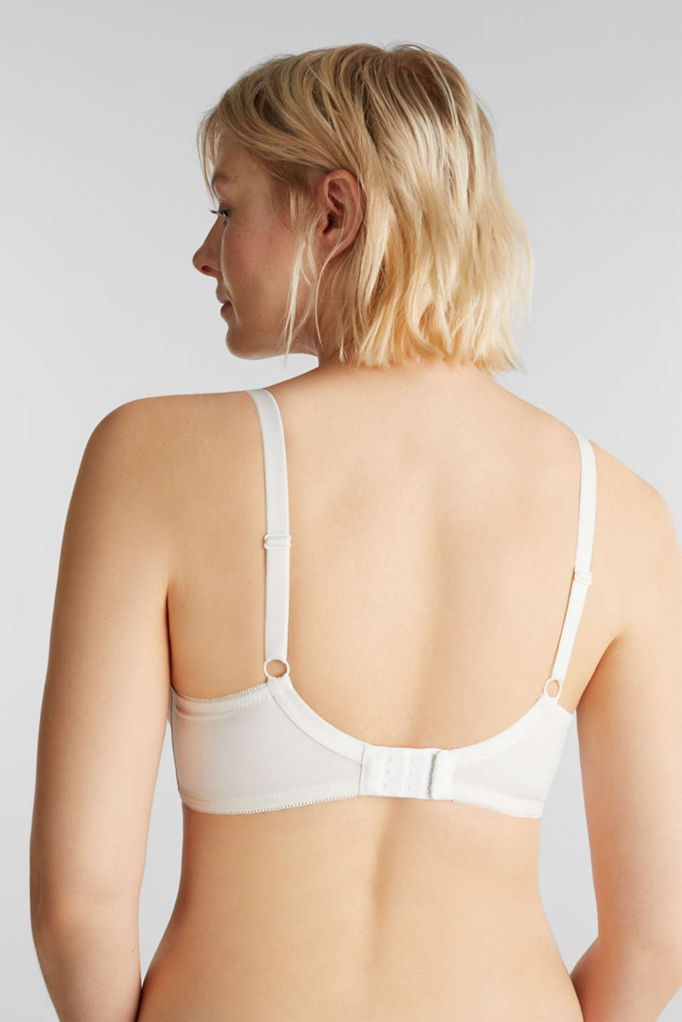 Unpadded underwire bra with crochet lace, OFF WHITE, detail image number 1