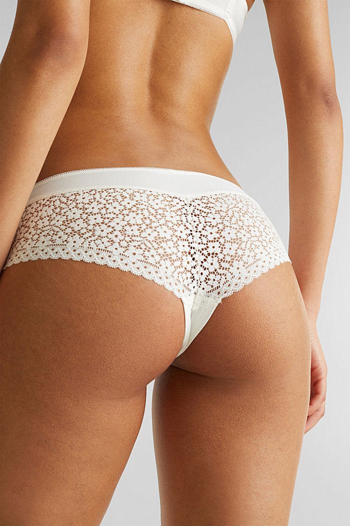 Hipster-Shorts mit Häkelspitze, OFF WHITE, detail image number 3