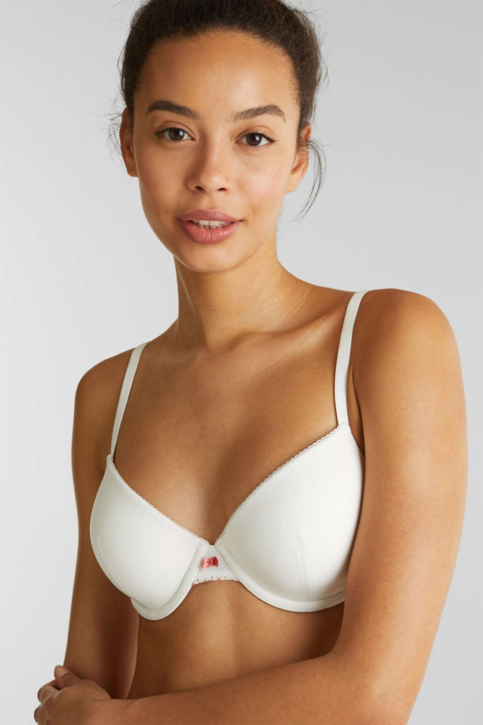 Padded underwire bra with a jacquard pattern, OFF WHITE, detail image number 3