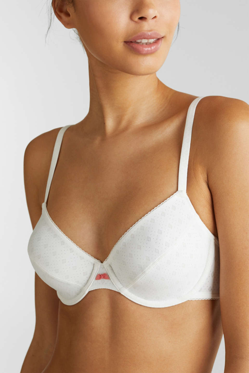 Unpadded underwire bra with a jacquard pattern, OFF WHITE, detail image number 2