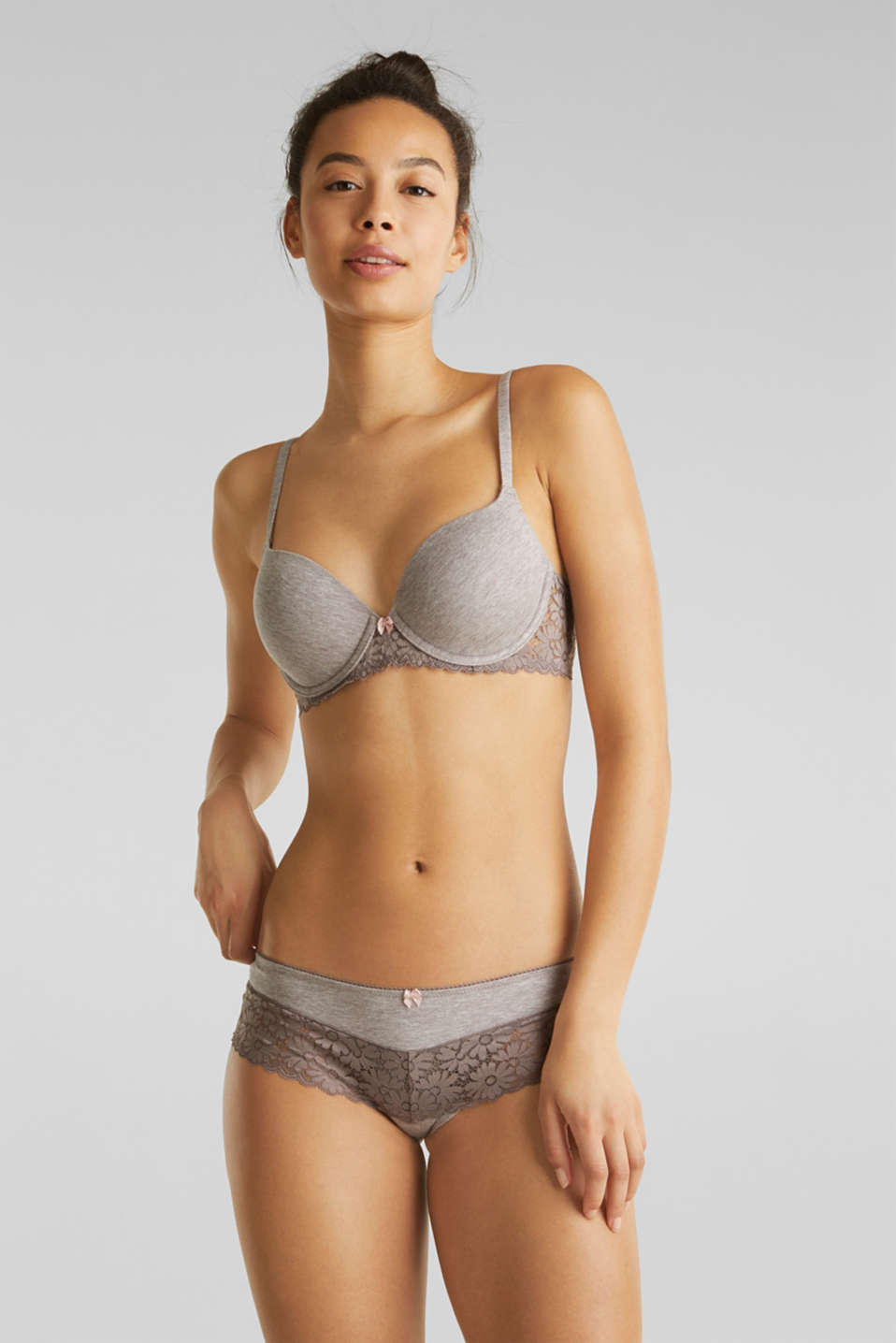Padded underwire bra in melange jersey with lace, LIGHT TAUPE, detail image number 0