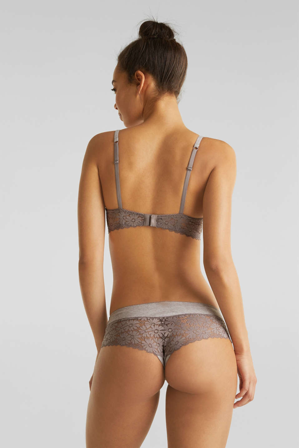 Padded underwire bra in melange jersey with lace, LIGHT TAUPE, detail image number 1