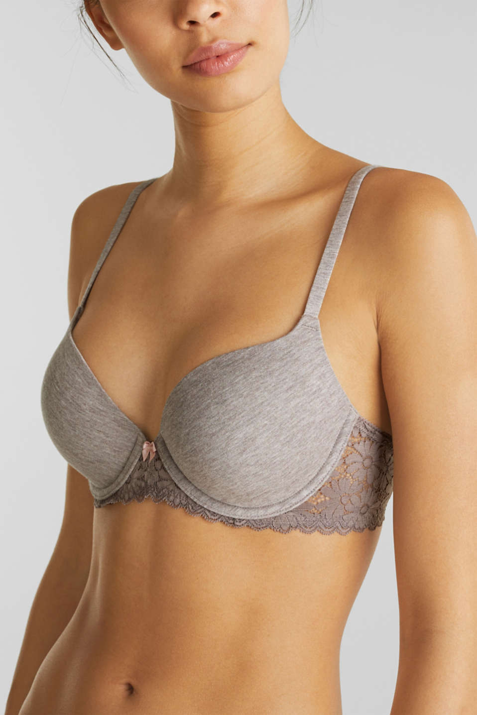 Padded underwire bra in melange jersey with lace, LIGHT TAUPE, detail image number 2