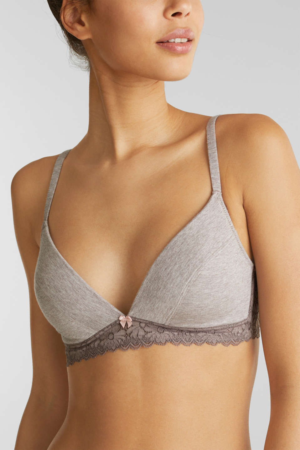 Padded, non-wired bra made of jersey/lace, LIGHT TAUPE, detail image number 2