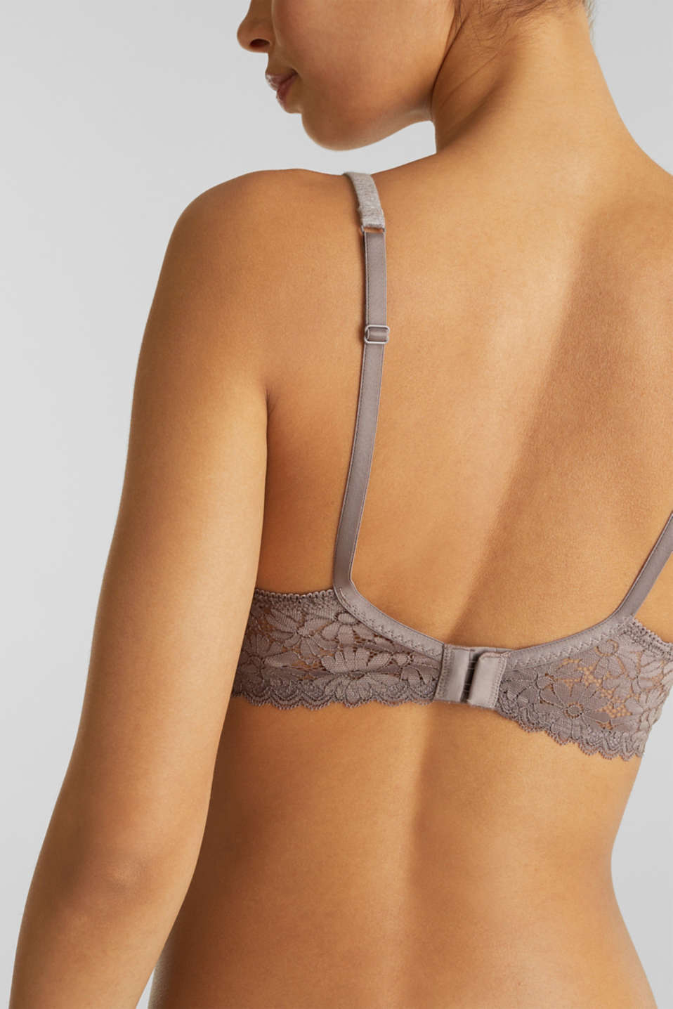 Padded, non-wired bra made of jersey/lace, LIGHT TAUPE, detail image number 3