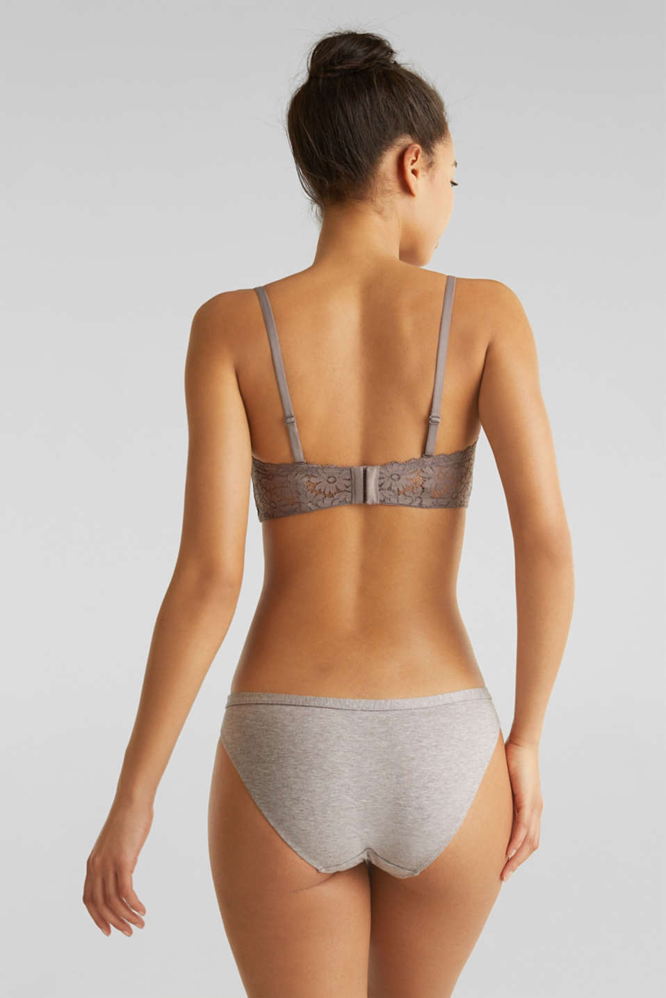 Padded bikini top with detachable straps, LIGHT TAUPE, detail image number 1
