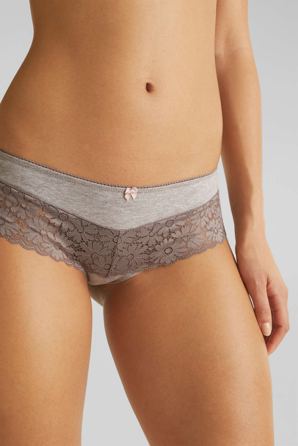 Jersey/lace hipster shorts, LIGHT TAUPE, detail image number 1
