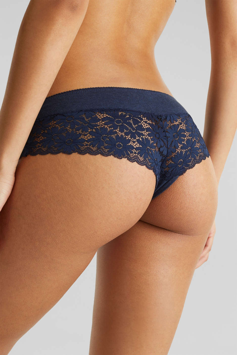 Jersey/lace hipster shorts, NAVY 2, detail image number 4