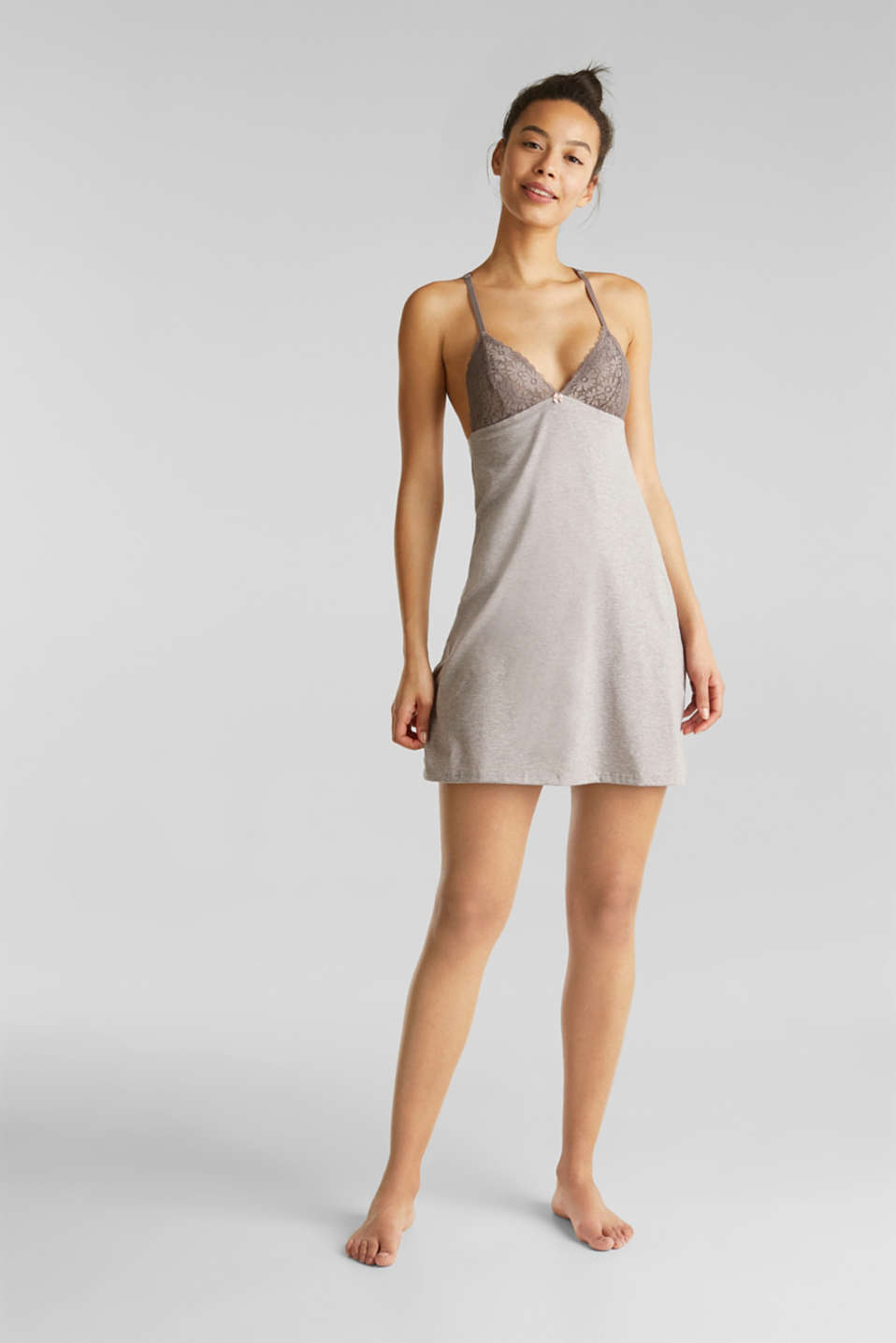 Esprit - Jersey and lace chemise