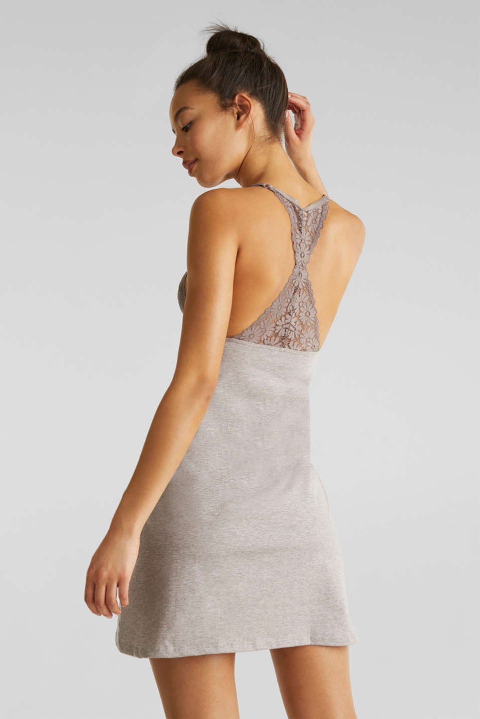 Jersey and lace chemise, LIGHT TAUPE, detail image number 1