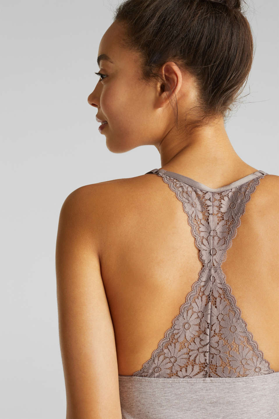 Jersey and lace chemise, LIGHT TAUPE, detail image number 3