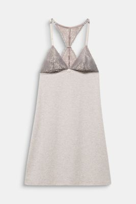 Jersey and lace chemise, LIGHT TAUPE, detail