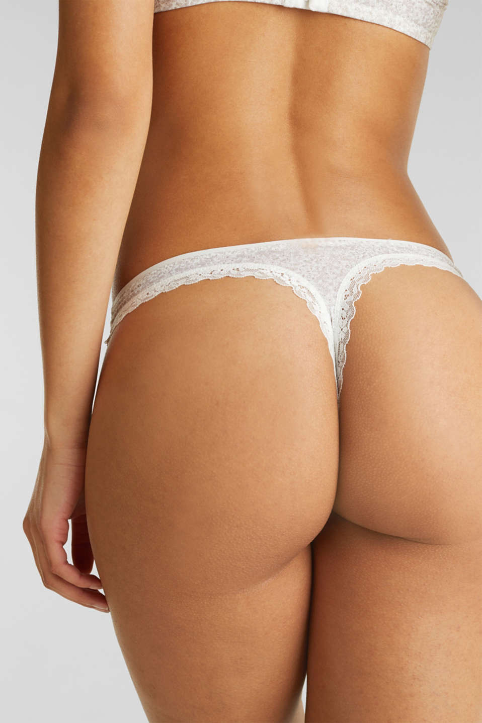 Hipster thong with a floral print, OFF WHITE, detail image number 1