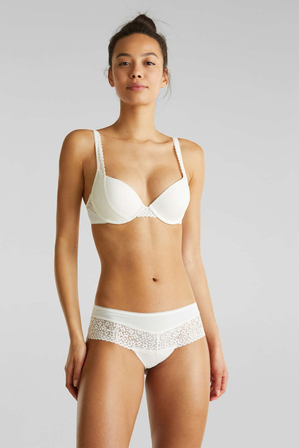 Padded push-up bra with crocheted lace, OFF WHITE, detail image number 0