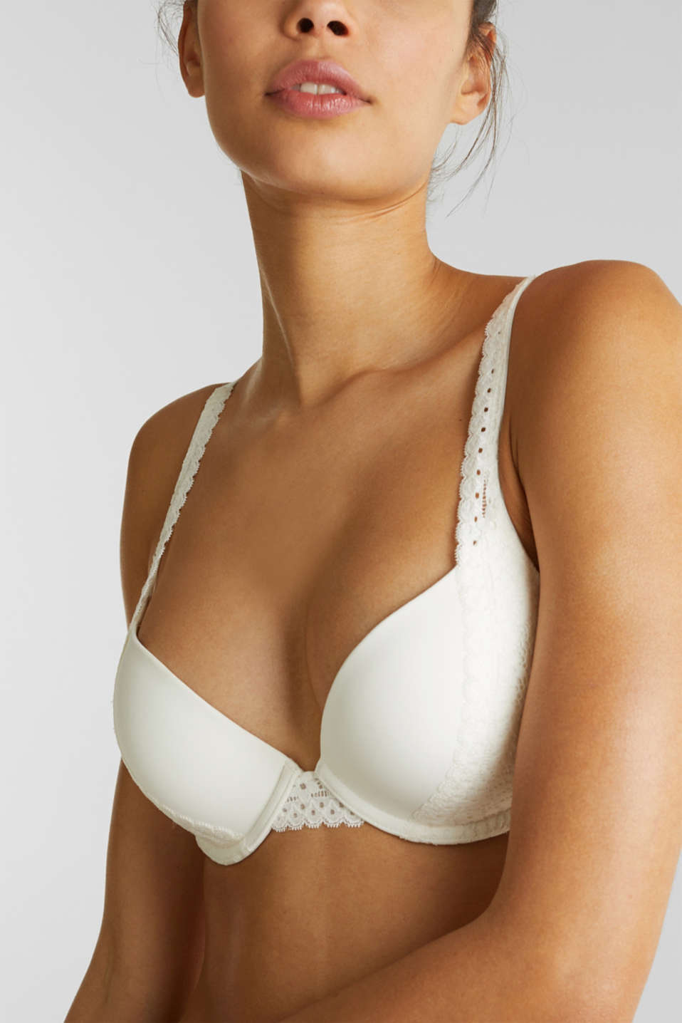 Padded push-up bra with crocheted lace, OFF WHITE, detail image number 2