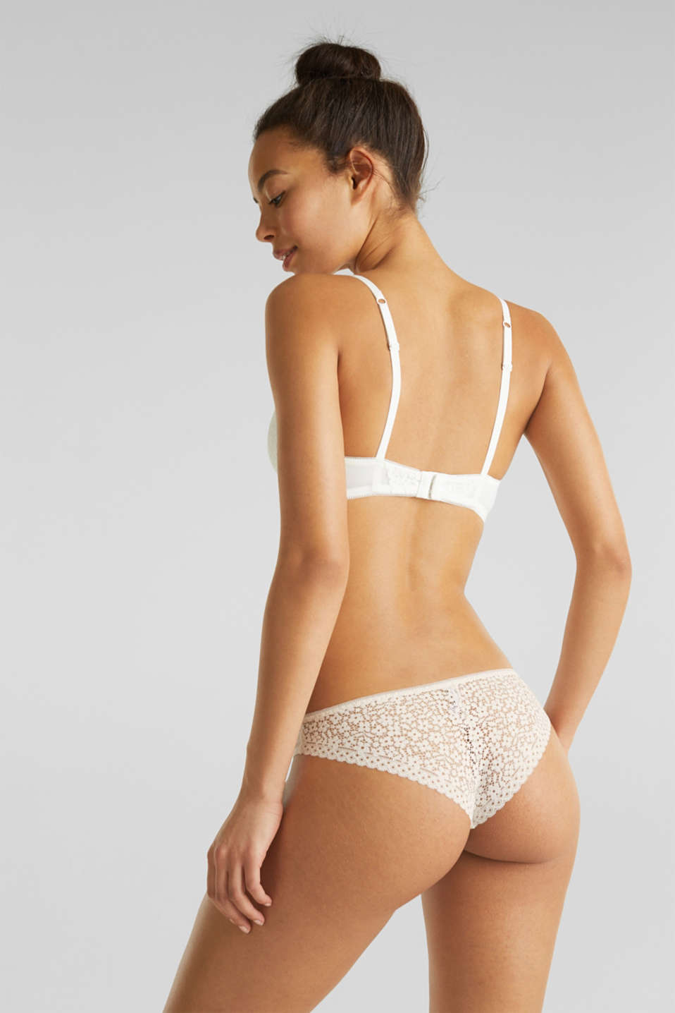 Padded underwire bra with crocheted lace, OFF WHITE, detail image number 1