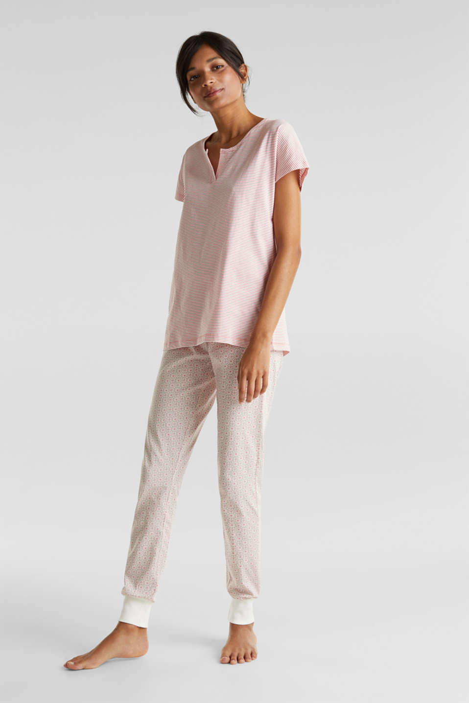 Jersey pyjamas in 100% cotton, OFF WHITE, detail image number 0