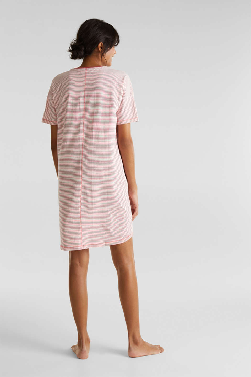 Nightshirt with stripes, 100% cotton, OFF WHITE, detail image number 2