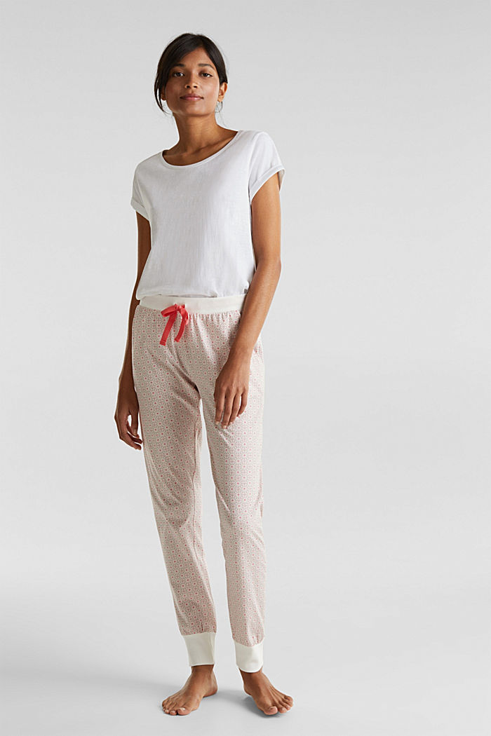 Jersey bottoms in 100% cotton, OFF WHITE, detail image number 0