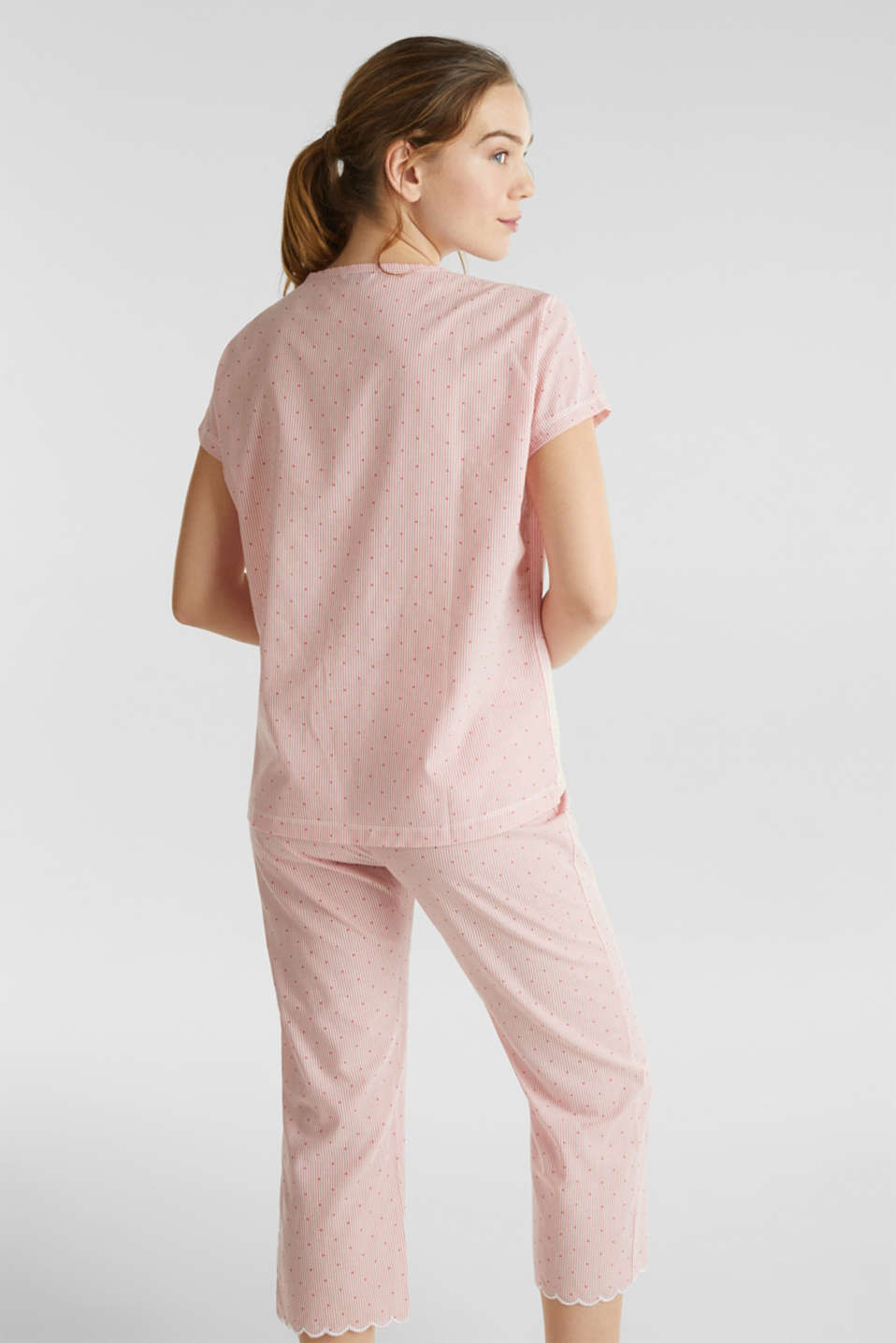 Woven pyjamas made of 100% cotton, CORAL RED, detail image number 1