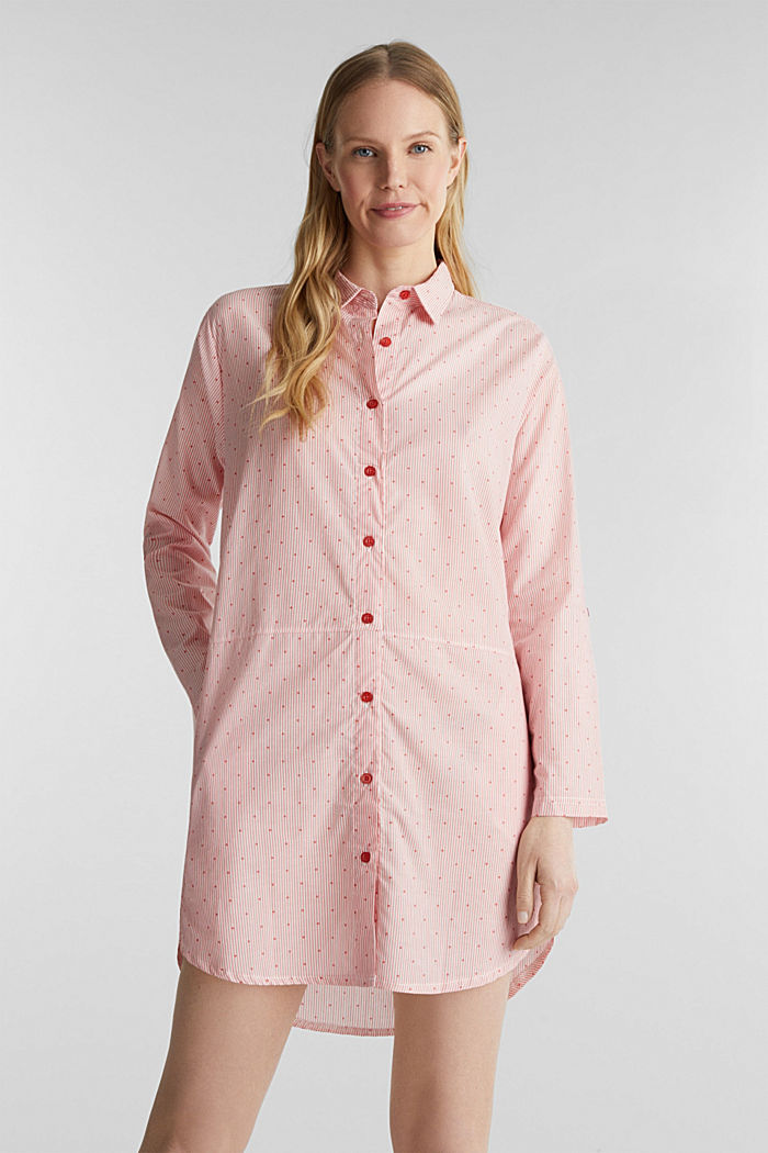 Woven nightshirt made of 100% cotton, CORAL RED, detail image number 1