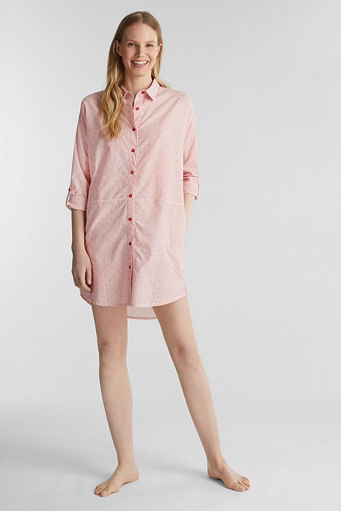 Woven nightshirt made of 100% cotton, CORAL RED, detail image number 0