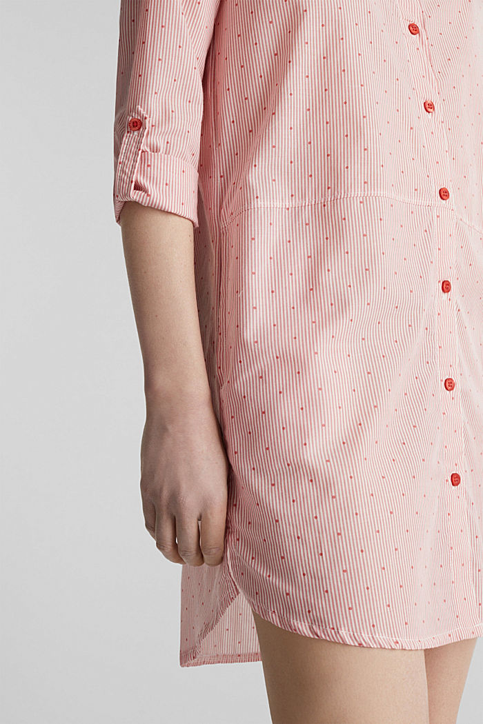 Woven nightshirt made of 100% cotton, CORAL RED, detail image number 3