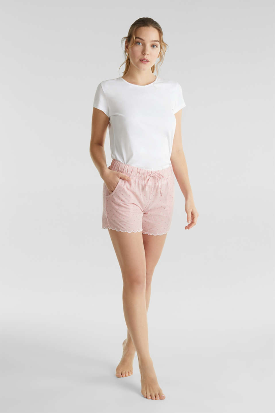 Woven shorts with a jacquard pattern, 100% cotton, CORAL RED, detail image number 0