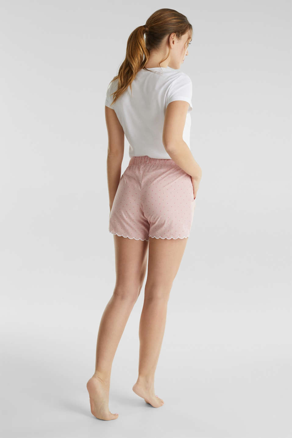 Woven shorts with a jacquard pattern, 100% cotton, CORAL RED, detail image number 2