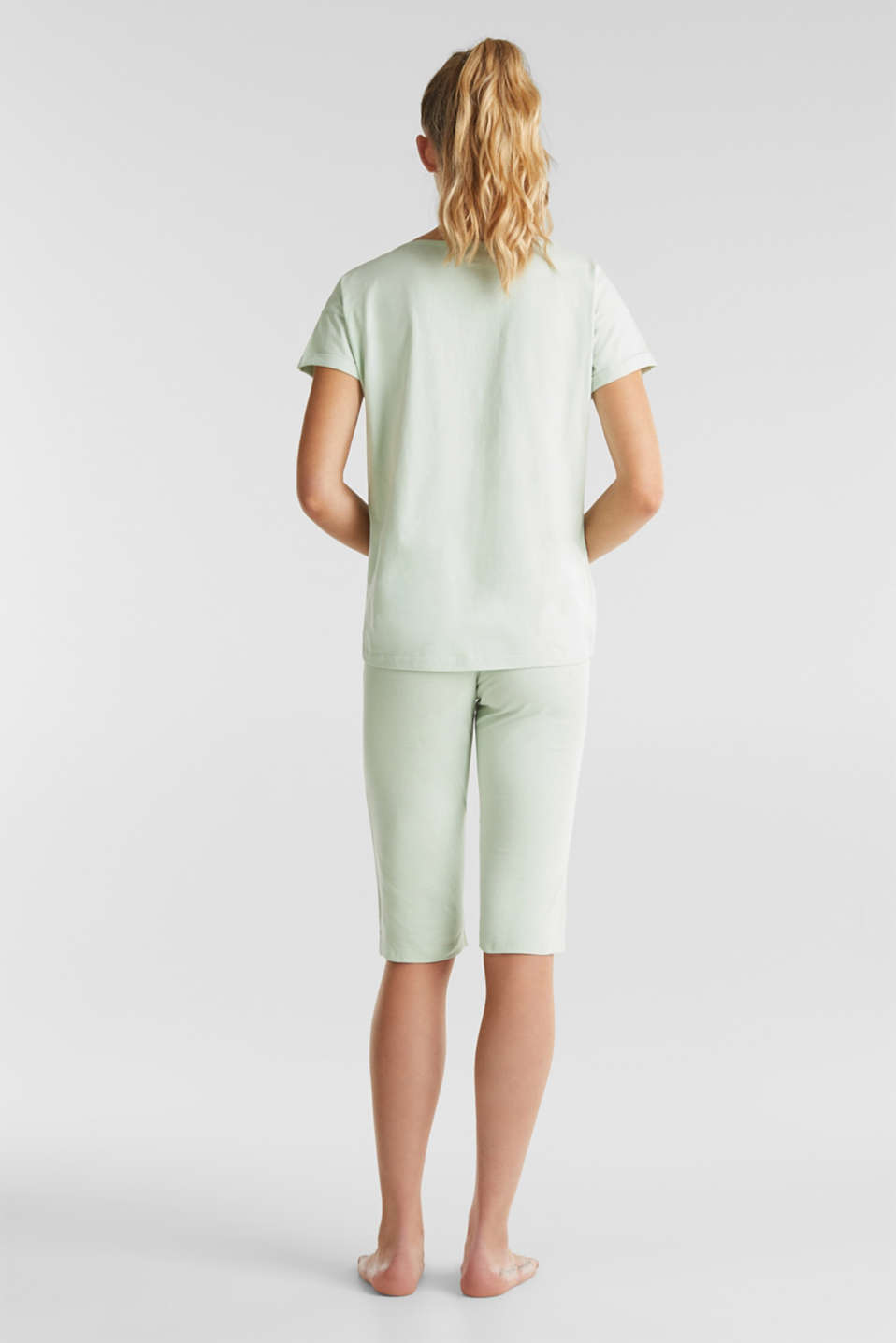 Jersey pyjamas in 100% cotton, LIGHT AQUA GREEN, detail image number 1