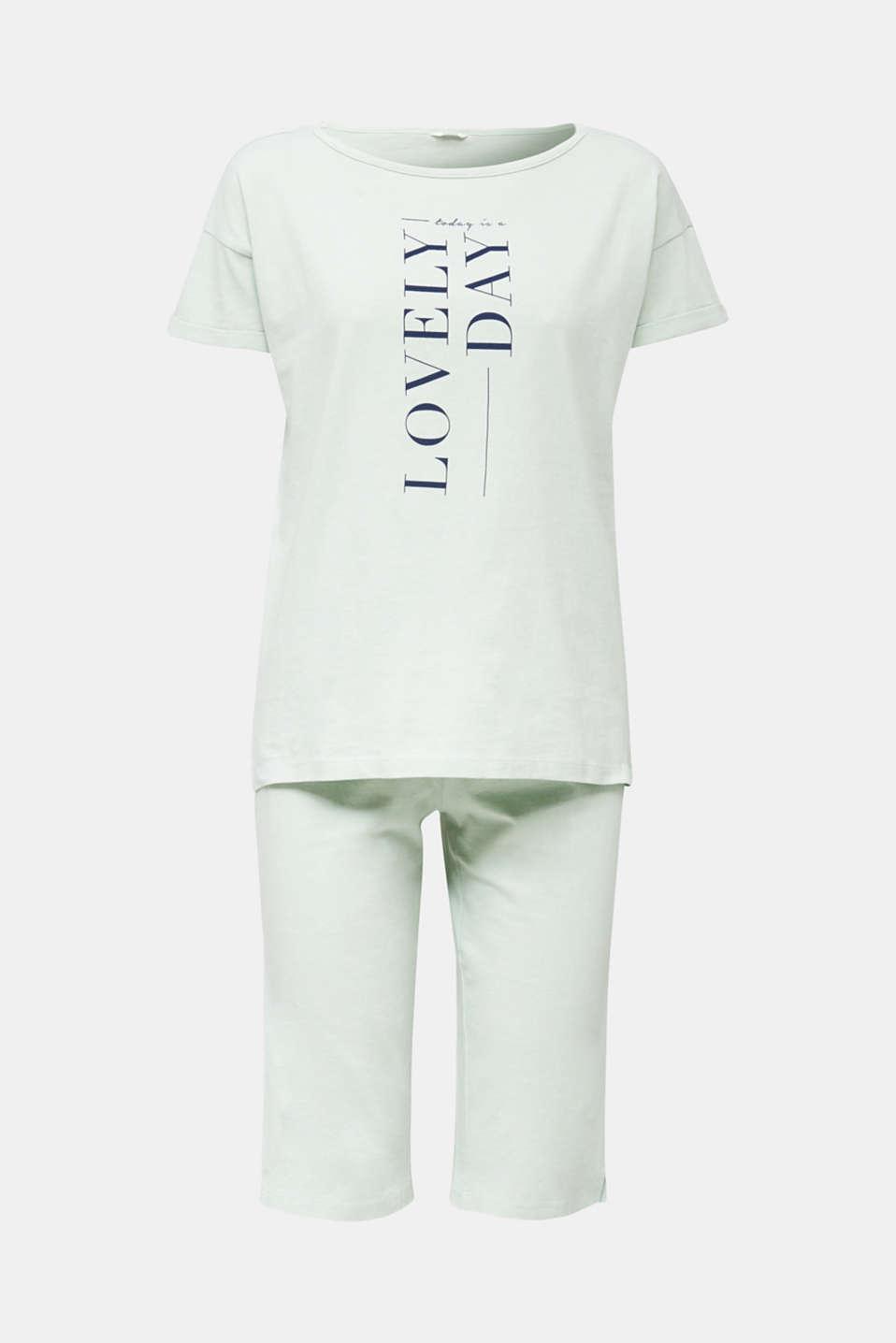 Jersey pyjamas in 100% cotton, LIGHT AQUA GREEN, detail image number 4