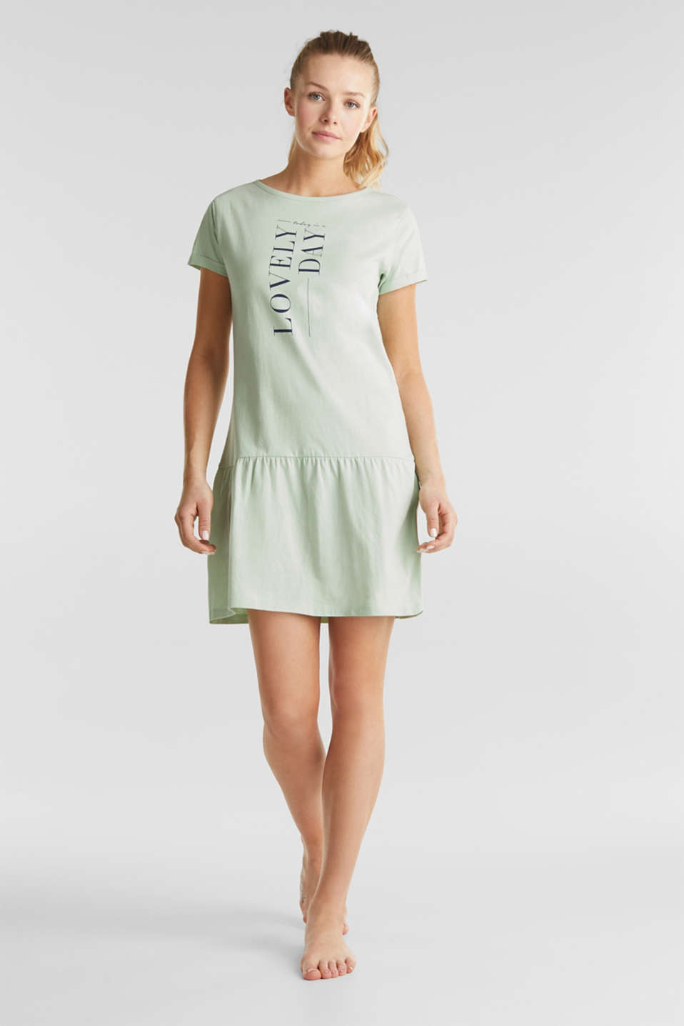 Jersey nightshirt, 100% cotton, LIGHT AQUA GREEN, detail image number 0