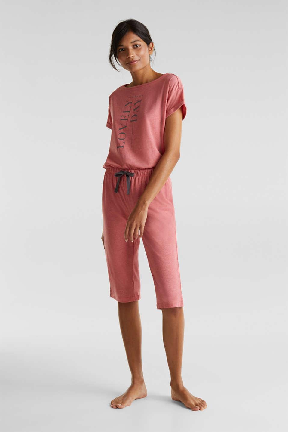 Melange jersey pyjamas made of blended cotton, CORAL RED, detail image number 1