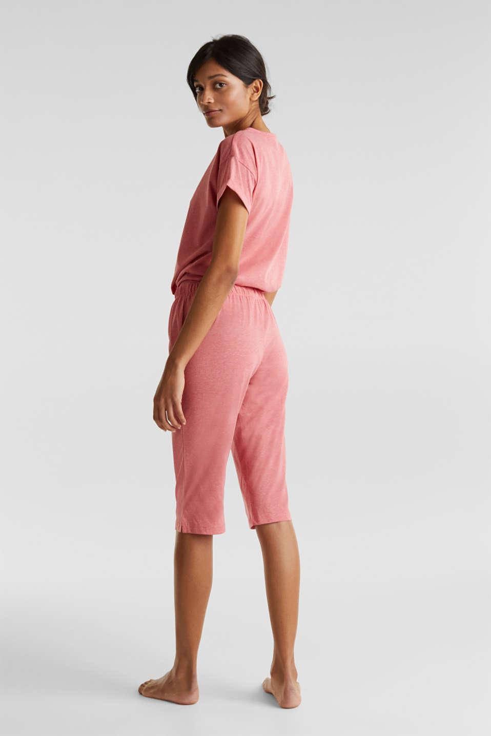 Melange jersey pyjamas made of blended cotton, CORAL RED, detail image number 2