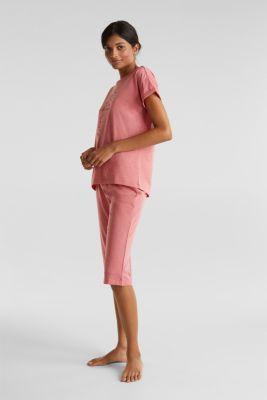 Melange jersey pyjamas made of blended cotton, CORAL RED, detail