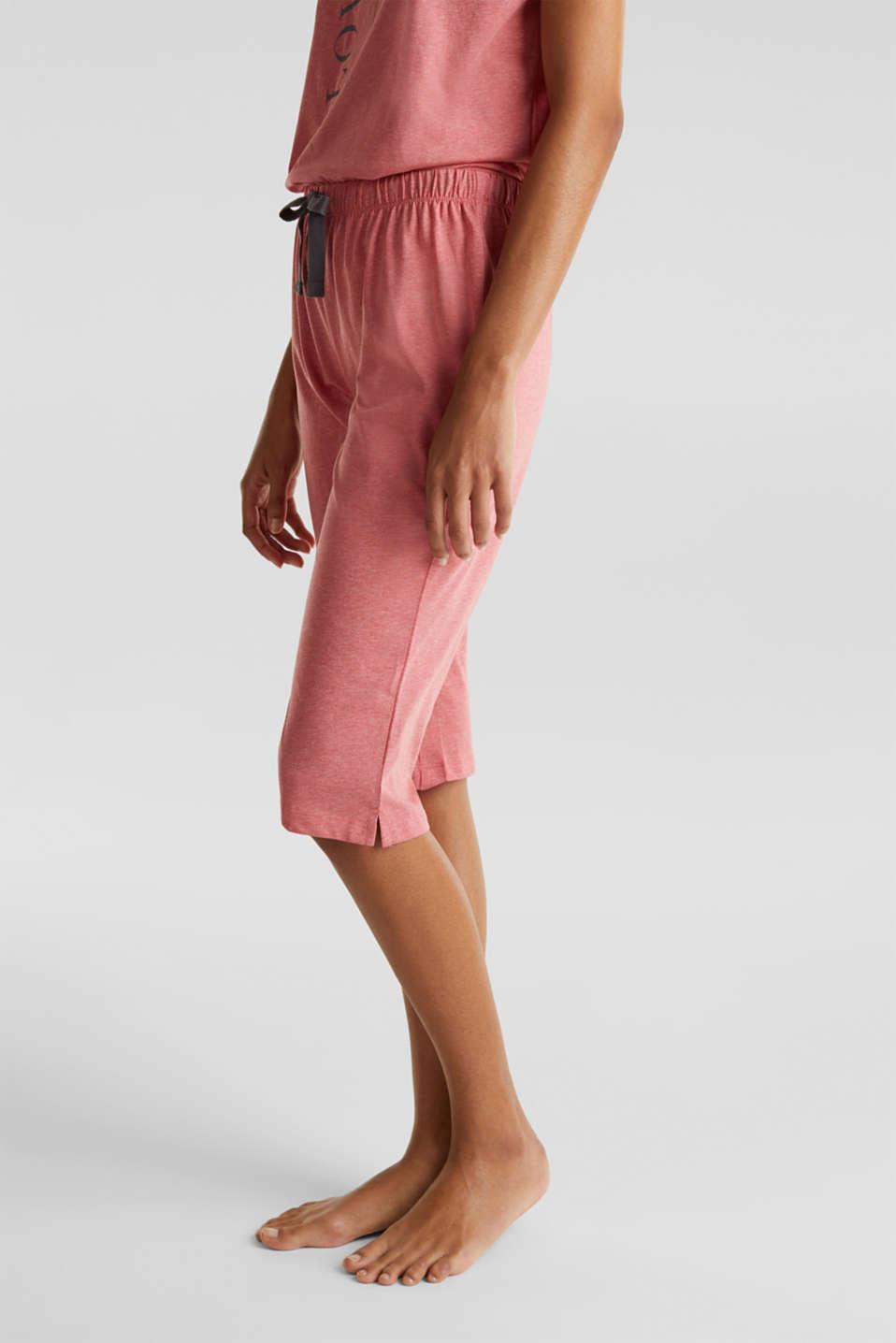 Melange jersey pyjamas made of blended cotton, CORAL RED, detail image number 5
