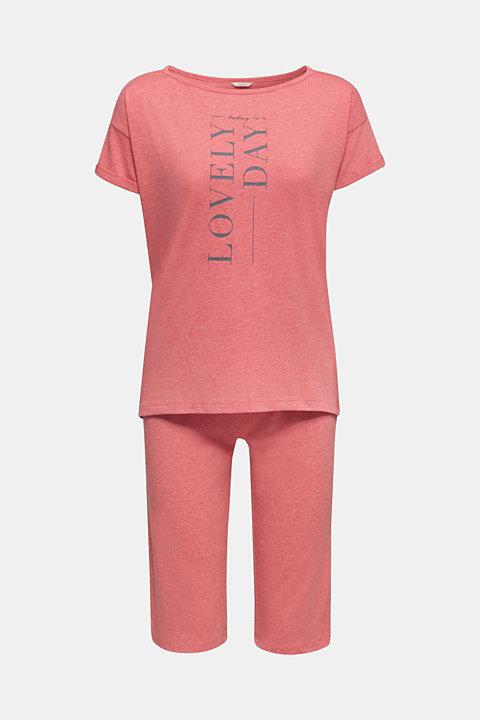 Melange jersey pyjamas made of blended cotton