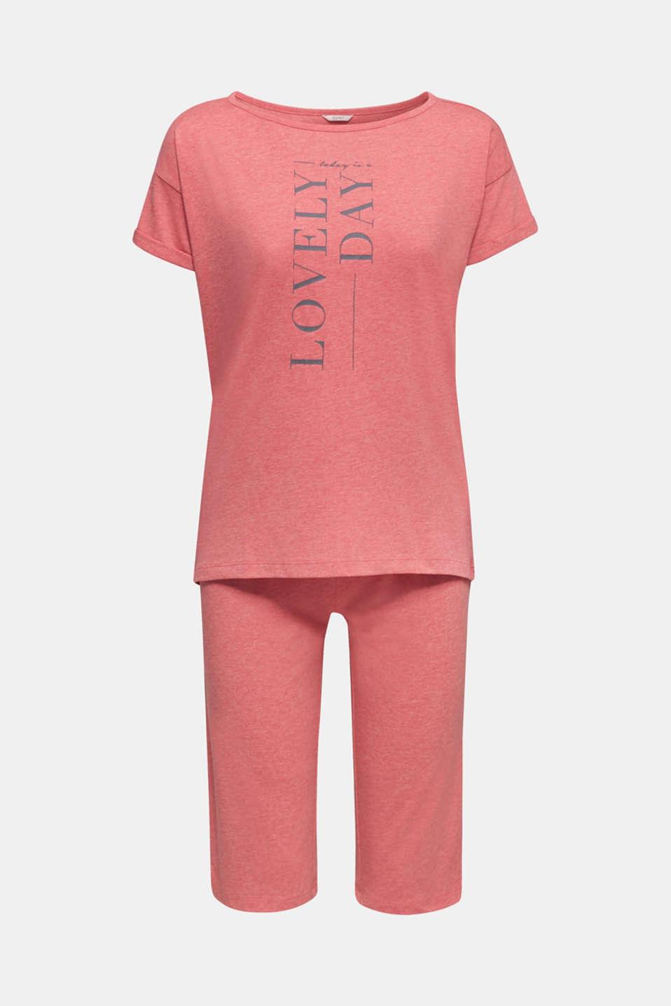 Melange jersey pyjamas made of blended cotton, CORAL RED, detail image number 6