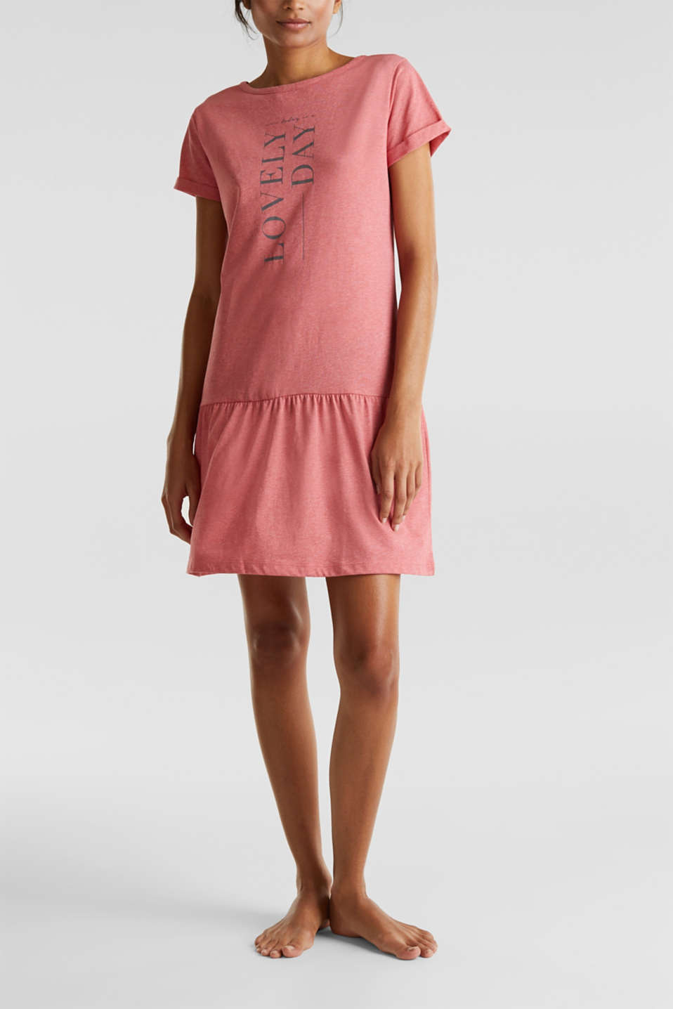 Jersey nightshirt with a flared skirt, CORAL RED, detail image number 1