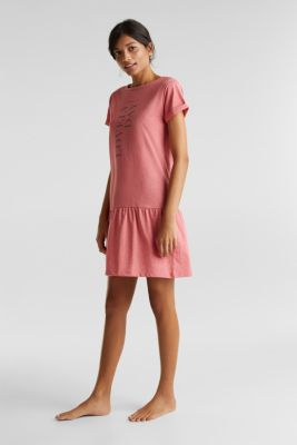 Jersey nightshirt with a flared skirt, CORAL RED, detail