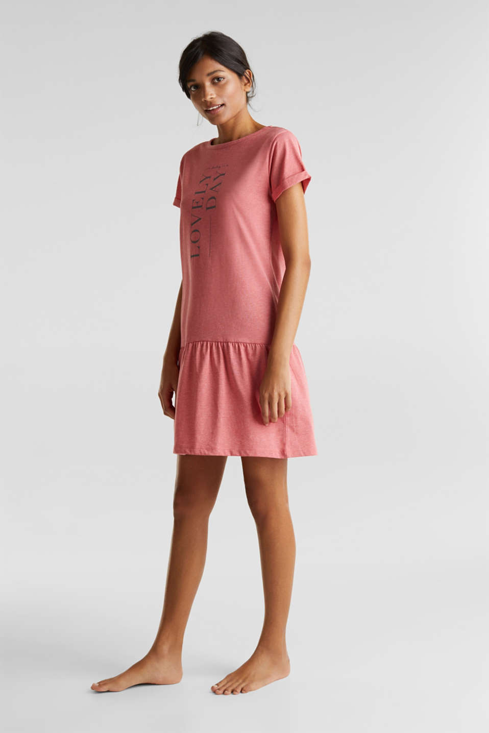 Jersey nightshirt with a flared skirt, CORAL RED, detail image number 0