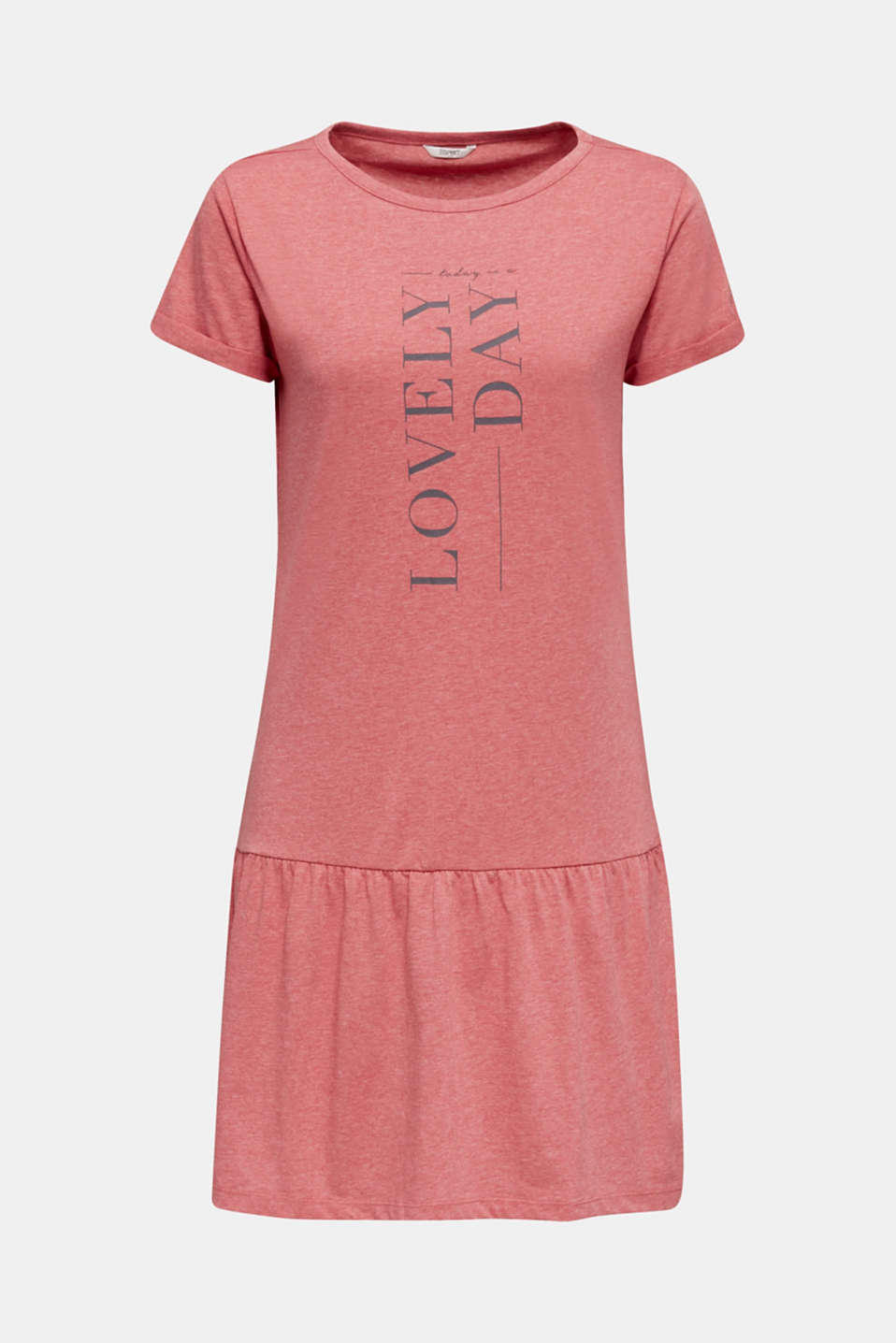 Jersey nightshirt with a flared skirt, CORAL RED, detail image number 4