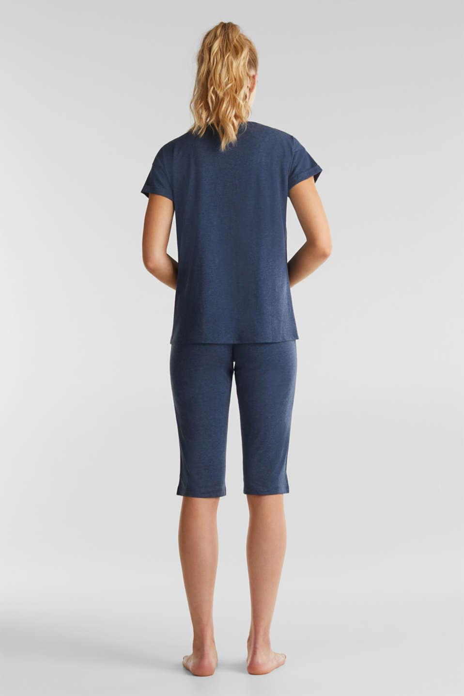 Jersey pyjamas with Bermuda bottoms, NAVY 2, detail image number 1