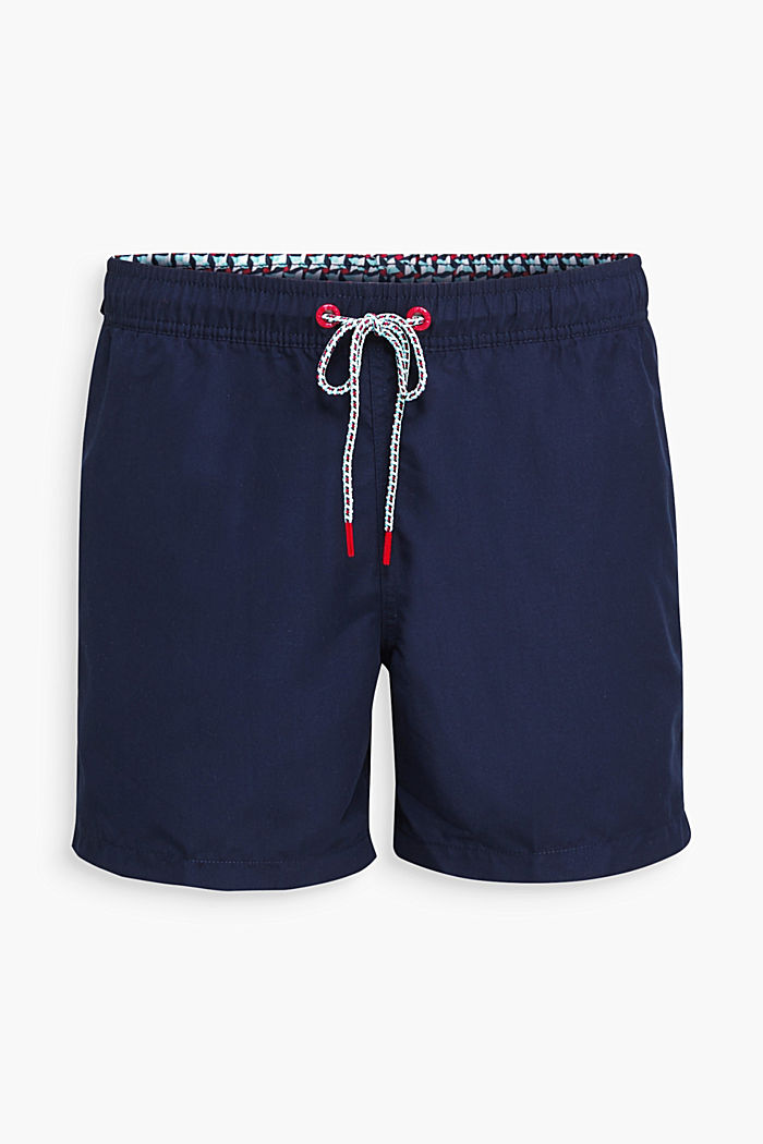 Bade-Shorts mit Print-Details, NAVY, overview