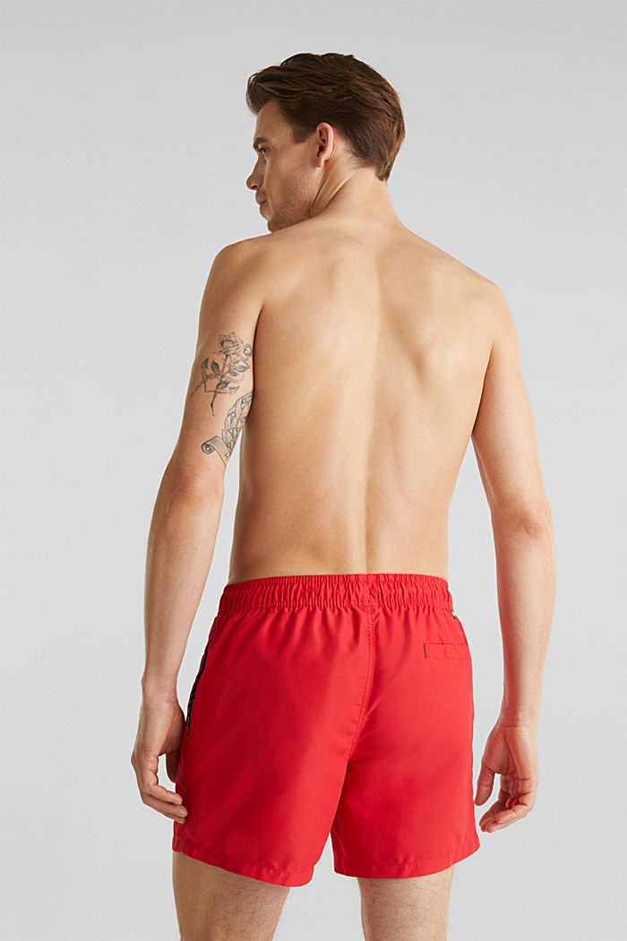 Swim shorts with print details, RED, detail image number 1