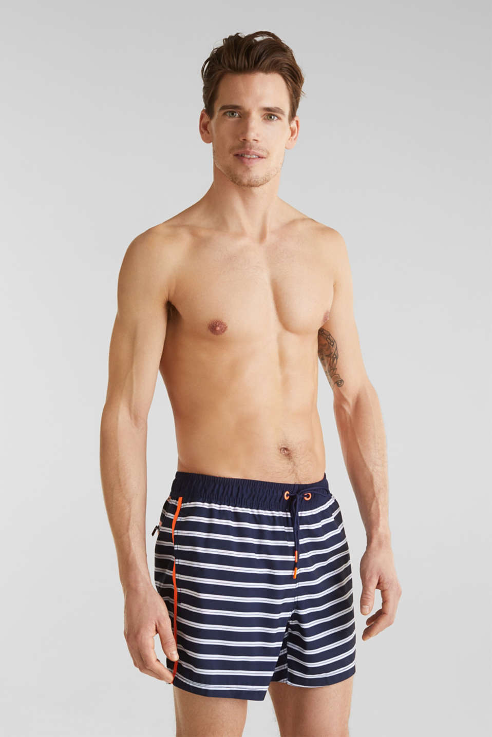 Swim shorts with stripes, NAVY 2, detail image number 0